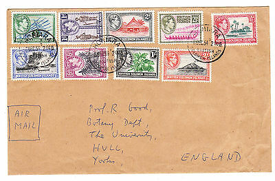 BR SOLOMON IS. 1939-51. GVI Definitives to 2/- on Cover, - 4 1/2d.  VFU. Sg.60-9