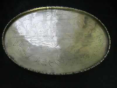 Vintage Brass Oriental Engraved Tray