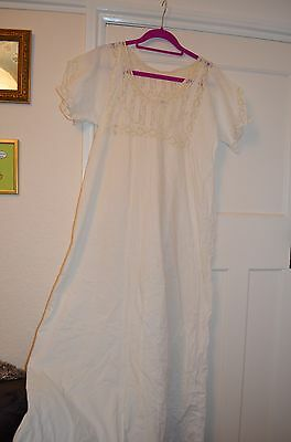 White genuine vintage cotton nightdress, lace trim. At least 50 years old!