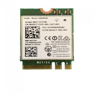 GENUINE Dell Intel 8260GNW Dual Band Wireless AC-8260 + BT 4.2 WLAN Card 8XG1T