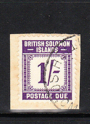 BR SOLOMON IS. 1940. GVI 1/- VIOLET POSTAGE DUE. VFU on small piece. Sg.D7