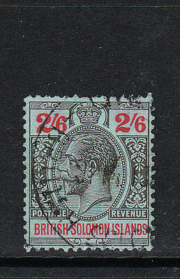 BR SOLOMON IS. 1927. GV 2/6d BLACK & RED/blue DEFINITIVE. WMK MSCA. FU. Sg.50