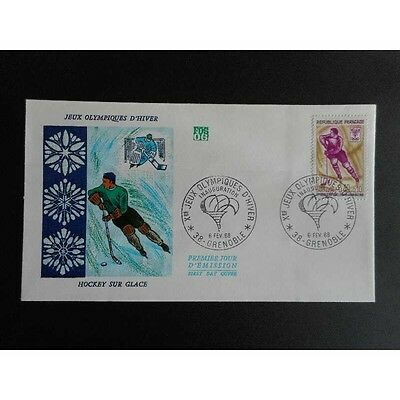 FDC - Xe Jeux Olympiques d'hiver. Hockey - 6/2/1968 Grenoble