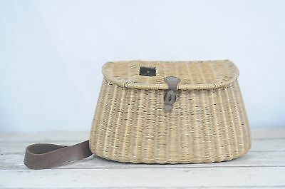 Antique Woven Split Willow Wicker Creel Fishing Basket Flower Leather Wire Loop