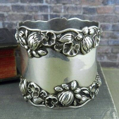 Antique Gorham Sterling Silver Pond Lily Floral Napkin Ring B209