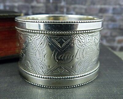 """Antique British Sterling Silver Floral Napkin Ring """"Maud"""""""