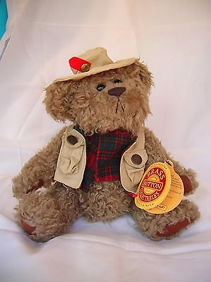"Brass Button Collectable Bear-Dressed for Fishing-Tanner 11""-1997-Bear of Health"