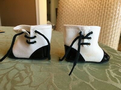 American Girl Addy Lace Up Boots Black Patent And White Canvas
