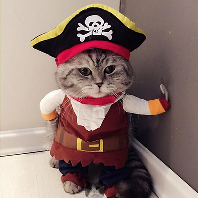 Funny Pet Cat Puppy Pirate Costume Suit Dog Clothes Dressing Up Clothing + Hat