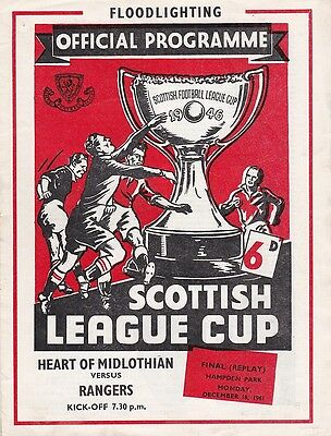 * 1961 SCOTTISH LEAGUE CUP FINAL REPLAY - HEARTS v RANGERS *