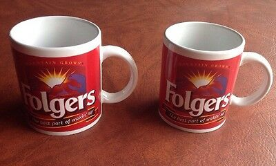 2 old retro Folger's cups mugs