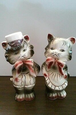 Vintage Mid Century Mr.& Mrs.Ceramic Hand Painted Salt & Pepper Shakers Japan 4""