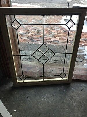 St 1194 Antique Beveled Leaded Glass Window 24.25 X 28.5