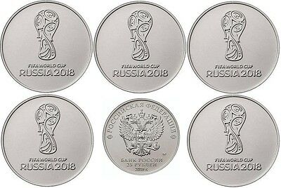 5 x 25 rubles Russia FIFA World Cup 2018 Football  UNC New 2017
