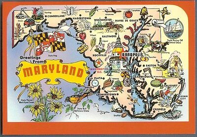 Greetings from Maryland State map postcard ~ Annapolis Baltimore ~ unused c1980s