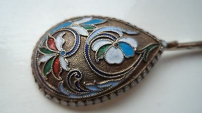 RUSSIAN IMPERIAL ANTIQUE  c1900 STERLING / SOLID SILVER & ENAMEL SPOON