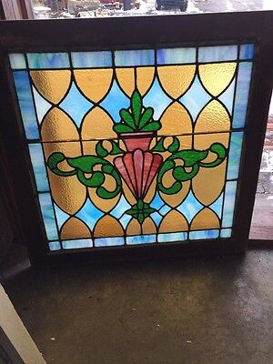Sg 1197 Beautiful Urn Design 28.5X 28.5 Stained Glass Window Antique