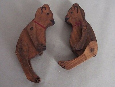 2 VINTAGE 1980 WOODEN TEDDY BEAR Ornaments, toys animal art craft carved figures