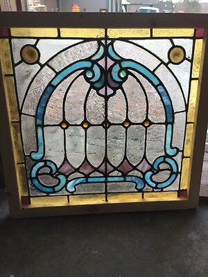 Sg 1199 Antique Stainglass Jeweled Umbrella Window 26.5 X 25.5 Hi