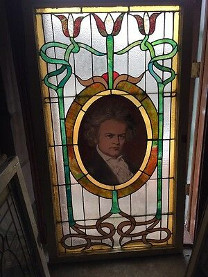 Sg 1200 Antique Art Nouveau Beethoven Portrait Landing Window 34.5×61.25
