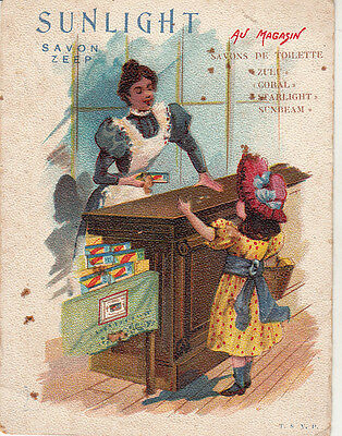 Chromo Sunlight Savon Advertising Trade Card Au Magasin Soap Shop Commerce Girl
