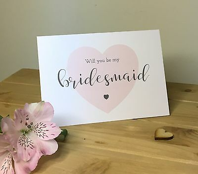 Heart Will You Be My Bridesmaid Cards - Pink, Peach, Blue or Lilac