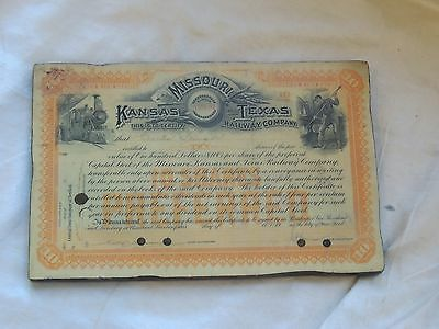 MKT Railroad Mounted Stock Certificate