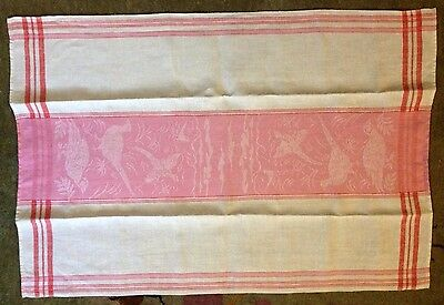 True Vintage Three-color Linen Damask Tea Towel Birds  Pink Pattern, Red Straips