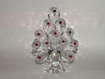 PEACOCK with RED CRYSTALS CUT GLASS BIRD ORNAMENT LARGE