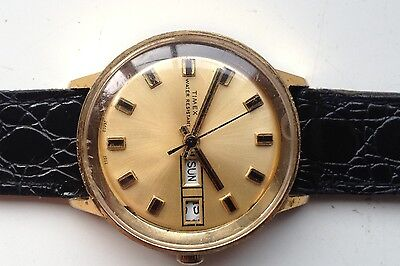 Mens Vintage Timex Gold Tone Manual Wind Day Date Working Calendar Watch