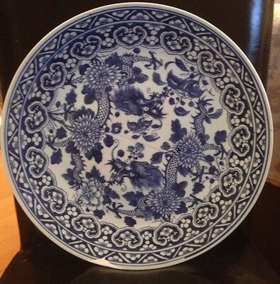 Early Chinese Stunning Blue White Dragon Charger Kangxi 19th Century