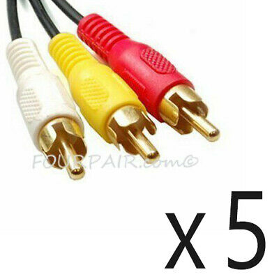 5 Pack Lot - 6FT Triple 3 RCA Red White Yellow Composite Audio Video Cable Gold