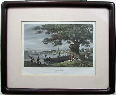Philadelphia city view Pennsylvania 1837 lovely steel-engraved hand color framed