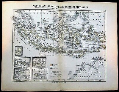 Dutch East Indies Sumatra Indonesia Borneo Australia 1865 Petri rare antique map