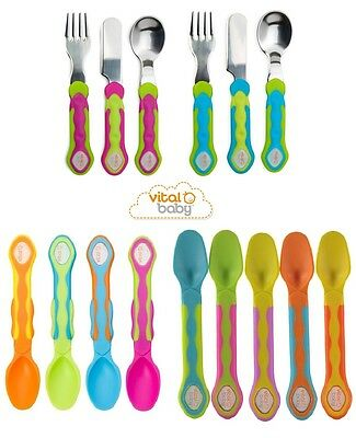 Vital Baby 5 Soft Tip Weaning Spoons,Toddler Cutlery Set, 4 Soft Tip Grip Spoons
