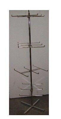 "Store Display Fixtures NEW FLOOR MODEL SPINNER PEG DISPLAY RACK 64"" tall CHROME"