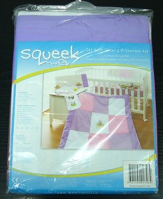 Brand New *poly Cotton* Squeek Cot Quilt Cover & Pillowcase Set