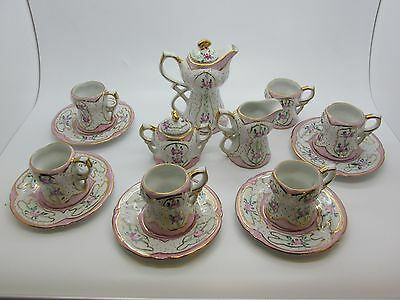 Beautiful vintage Limoges China 16 Piece Child's Tea Set Gold with Pink Roses