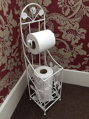 New Antique White Metal Toilet Roll Holder and Stand, Bathroom, Accessories