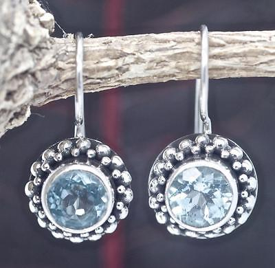 Handmade Solid Sterling Silver .925 Bali Small Round Dangle Earring w Blue Topaz