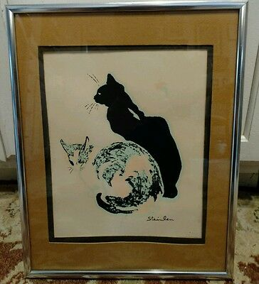 VTG SILKSCREEN PRINT CALICO Theophile STEINLEN SIGNED KITTENS CATS LES CHATS