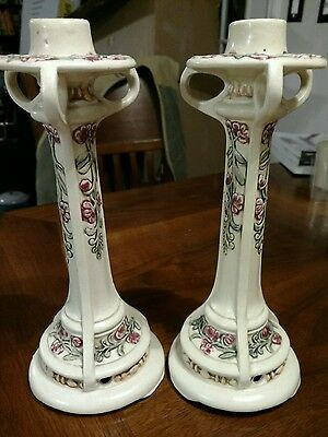 Weller Pottery USA Roma pair Lamp Base / Candlestick (2)