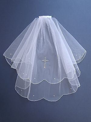 Communion / Confirmation Veil White made with Swarovski Diamante