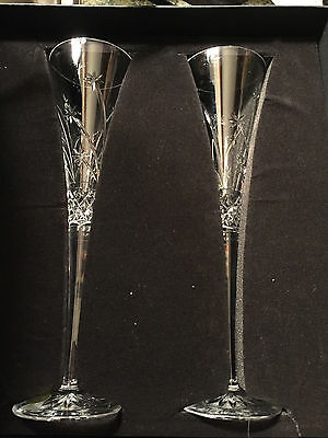 Pair Waterford Crystal Wishes Believe Champagne Toasting Flutes Glasses 2pc