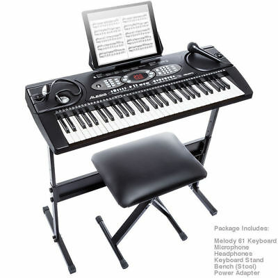 Alesis Pack 61 Keys Electronic Keyboard/Electric Piano w/Headphones/Stool/Mic