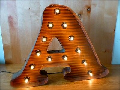 "LG BROWN VINTAGE STYLE LIGHT UP MARQUEE LETTER A, 24"" TALL novelty rustic sign"