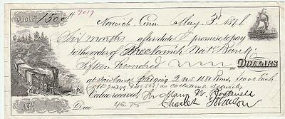 1871 promissory note, railroad and sailing ship vignettes