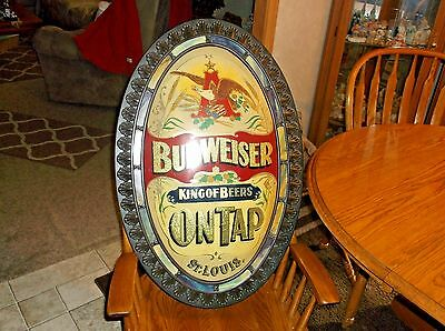 Vintage 1970s  Budweiser on Tap King of Beers Oval Plastic Sign , 31 1/4 x20 1
