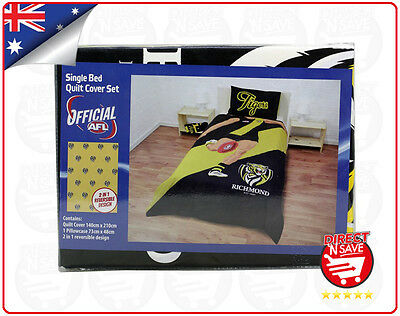 AFL Richmond Tigers Single Bed Quilt Cover Reversible Official Merchandise