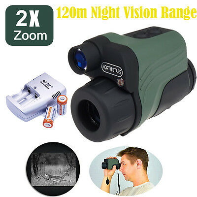 Handheld IR Infrared Digital Night Vision Monocular HD+1xCR123A Battery/Charger